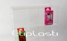 Expositor vertical em acrílico para acessórios de celular